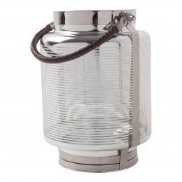 Lanterne argentée rayée - Grand modèle
