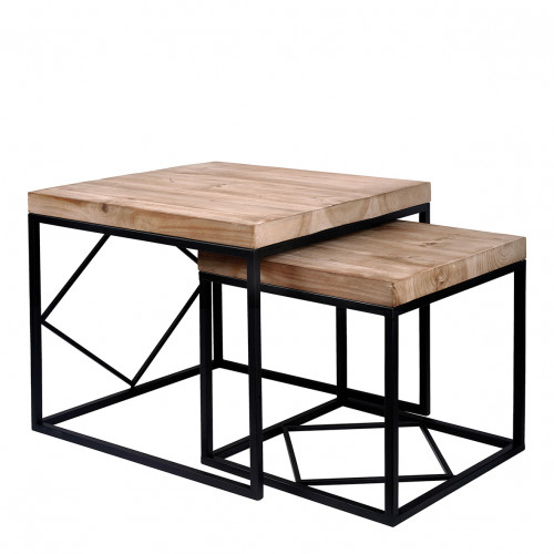 Set de 2 tables d'appoint ou tabourets Manhattan