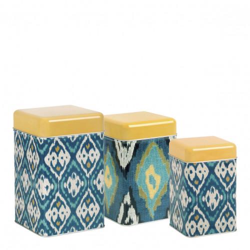 Set de 3 boîtes gigognes rectangulaires Ikat bleu