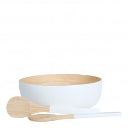 Set saladier et couverts bambou blanc